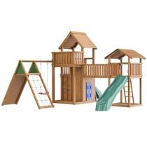 Детский городок Jungle Gym Jungle Grand Palace-2 Jungle Palace + Cottage + Climb + Playhouse + Bridge Link (деревянный жесткий мост)