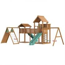 Детский городок Jungle Gym Jungle Palace + Jungle Cottage + Bridge Link (жесткий мост) + Climb + Swing
