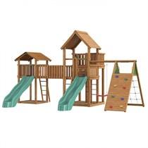 Детский городок Jungle Gym Jungle Palace + Jungle Cottage + Bridge Link (жесткий мост) + Climb Module