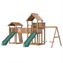 Детский городок с двумя горками Jungle Gym Jungle Palace + Jungle Cottage + Bridge Link (жесткий мост) + Swing + Rock