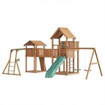 Детский городок Jungle Gym Jungle Palace + Jungle Cottage (без горки) + Bridge Link (жесткий мост) + Rock + Рукоход + гимнастические кольца + Swing