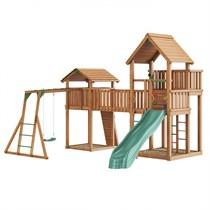 Детский городок с двумя башнями Jungle Gym Jungle Palace + Jungle Cottage (без горки) + Bridge Link (жесткий мост) + Rock + Рукоход + сидушка